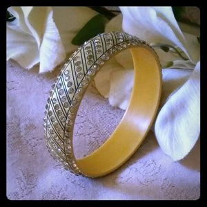 Vintage Celluloid Rhinestone Bangle Bracelet